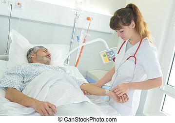 vérification, malades, pouls, docteur