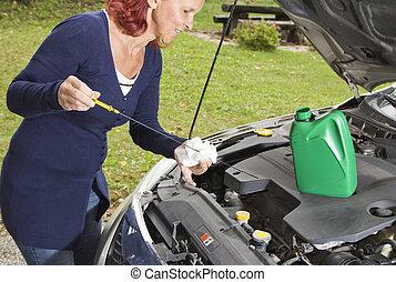 vérification, niveau, véhicule, huile