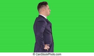 vérification, objet, chroma, écran, regarder, vert, key., homme affaires, personne agee, blanc dehors