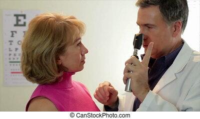 vérification, optométriste, sien, patient