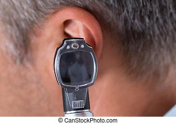 vérification, oreille, mâle, patient, docteur