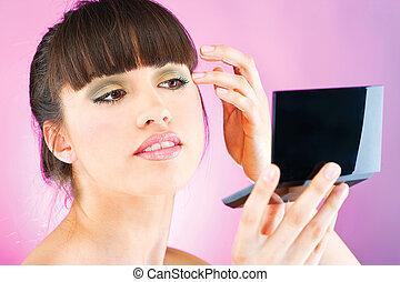vérification, peau, figure, femme, miroir