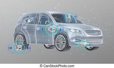 vérification, rendre, 3d, fond, smartcar