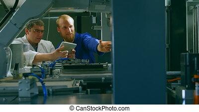 vérification, robotique, machinerie, ingénieurs, 4k, entrepôt