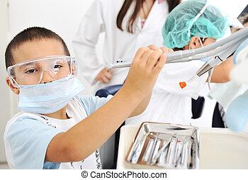 vérification, série, apparenté, photos, dentiste, dents, gosse