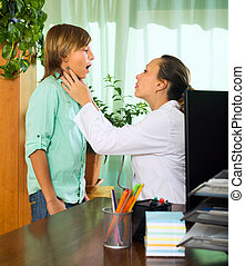 vérification, thyroïde, adolescent, docteur