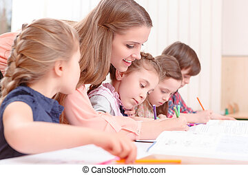 vérification, travail, prof, élèves