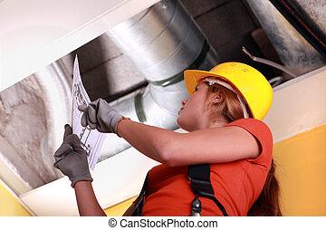 vérification, ventilation, femme, système