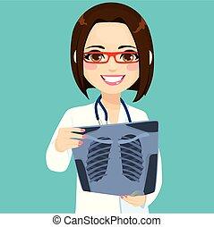 vérification, xray, docteur féminin