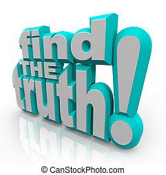 vérité, réponses, honnête, mots, chercher, trouver, 3d