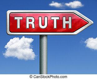 vérité, route, signe flèche