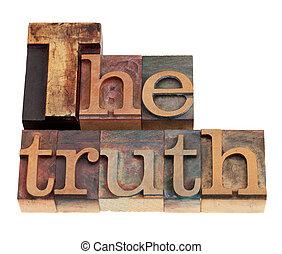 vérité, type, letterpress, mot