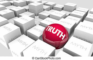 vérité, vs, mythes, faits, ou, fiction, vrai, faux, sphère, dans, cubes, 3d, illustration