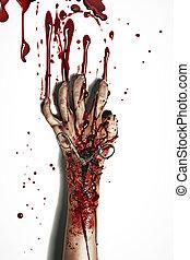 vérzés, film, mód, horror, kéz