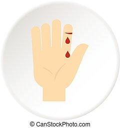 vérzés, karika, lapozgat, emberi, ikon