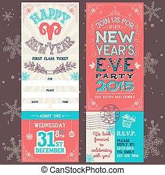 véspera, ano novo, convite, partido, bilhete