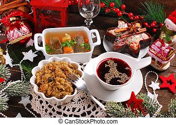 véspera, tradicional, polaco, pratos, algum, natal, ceia