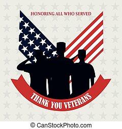 vétérans, tapé machine, texte, jour, drapeau, heureux, soldats, nous