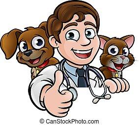 vétérinaire, caractère, haut, signe, pouces, dessin animé