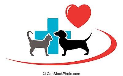 vétérinaire, chien basset allemand, icône, chat
