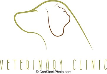 vétérinaire, chien, chat, clinique, vecteur, conception, gabarit