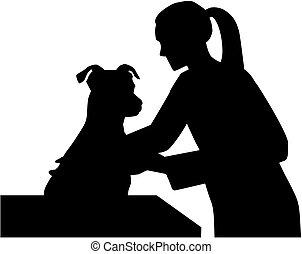 vétérinaire, chien, femme