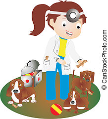vétérinaire, chiots, quelques-uns, femmes