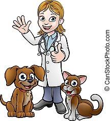 vétérinaire, chouchou, chat, dessin animé, chien, caractères