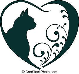 vétérinaire, coeur, chat, love.