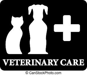 vétérinaire, croix, noir, animaux familiers, soin, icône