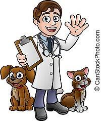 vétérinaire, dessin animé, caractère, chien, chat