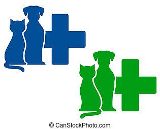vétérinaire, deux, icônes