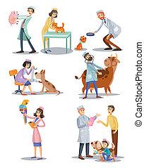 vétérinaire, ensemble, vétérinaire, monde médical, animaux, pets., clinique, caractères, médecins, professionnel, concept., dessin animé, soin