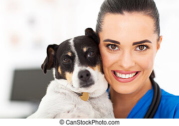 vétérinaire, et, chien