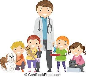 vétérinaire, gosses, stickman, animaux familiers