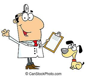 vétérinaire, homme, chien