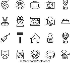 vétérinaire, icons., mince, animaux familiers, signes, ligne
