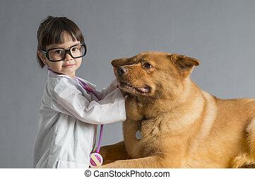 vétérinaire, jouer, enfant