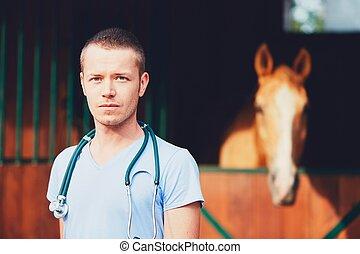 vétérinaire, médecine, à, les, ferme