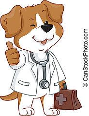 vétérinaire, pouces haut, chien