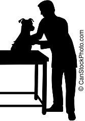 vétérinaire, silhouette, chien
