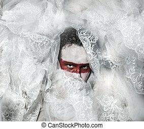 véu, renda, maquilagem, máscara, mistério, coberto, branco vermelho, homem