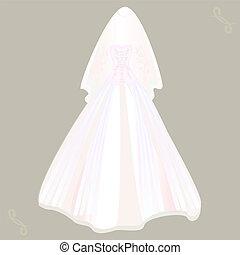 véu, vestido, casório