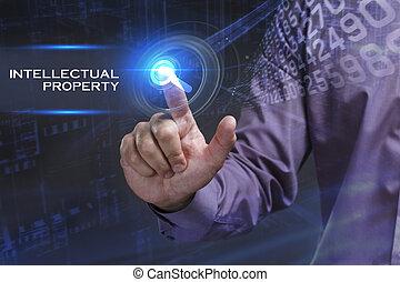 vê, rede, trabalhando, inscription:, concept., jovem, intelectual, negócio, futuro, virtual, internet, homem negócios, propriedade, tela, tecnologia