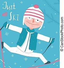vêtements, conception, skieur, mignon, main, coloré, dessiné, hiver, rigolote, affiche