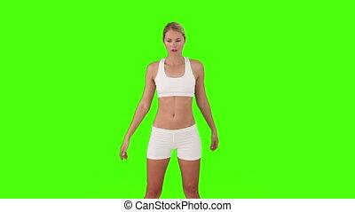 vêtements de sport, femme, quelques-uns, blonds, exercice