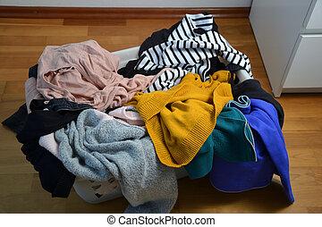 vêtements, entiers, panier blanchisserie
