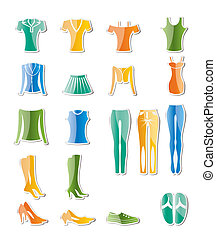 vêtements, femme, femme, icônes
