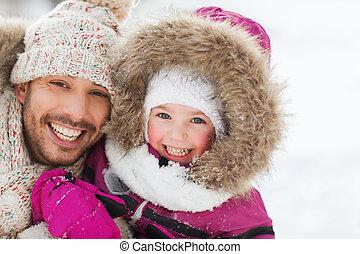 vêtements, heureux, hiver, famille, dehors