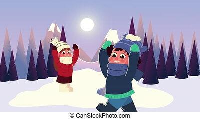 vêtements hiver, gosses, boule de neige, jouer, scène, forêt, porter, couple, interracial